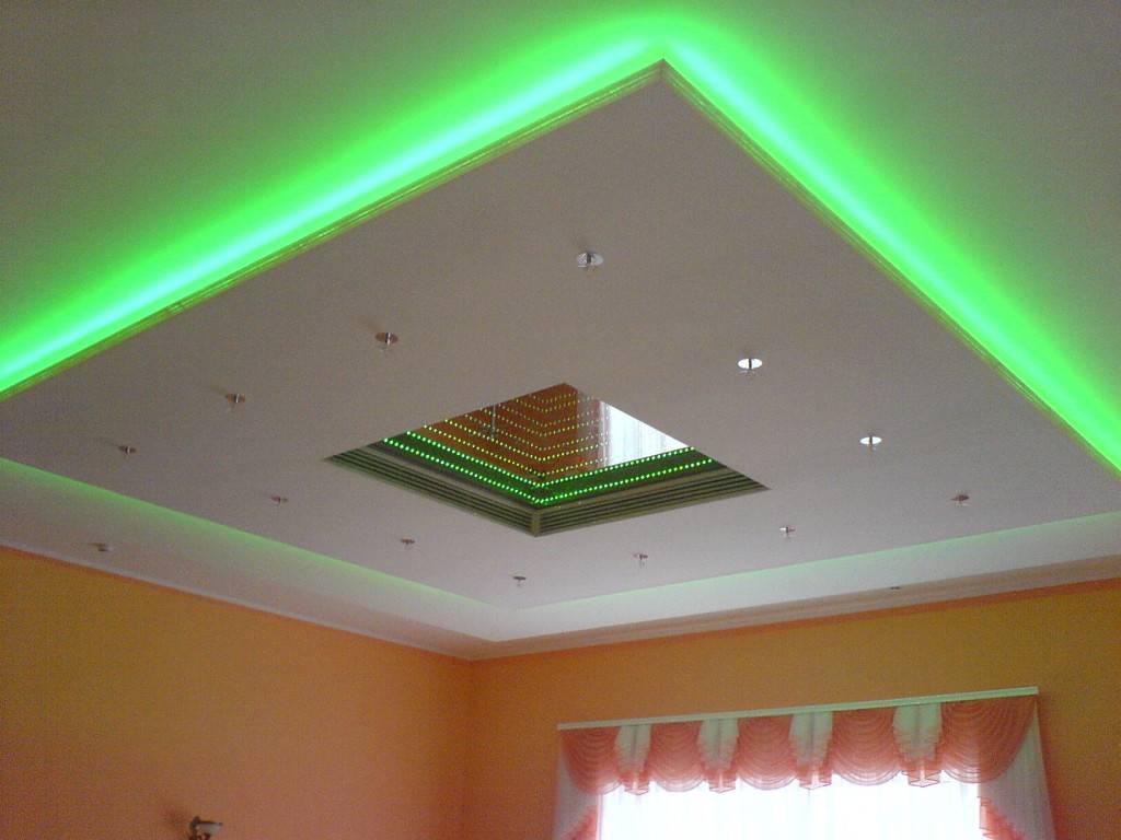 Светодиодная лента под натяжным потолком - устройство, детали на фото и видео