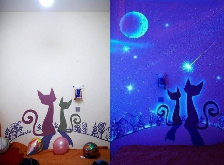 Флуоресцентная краска (40 фото): что это такое, светится ли в темноте аэрозольная краска в баллончиках, бесцветные и белые составы, отличия от люминесцентной