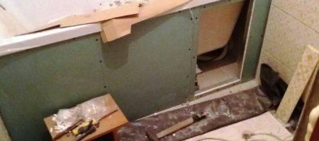 Муж сделал ремонт в санузле в съемной квартире. фото до/после