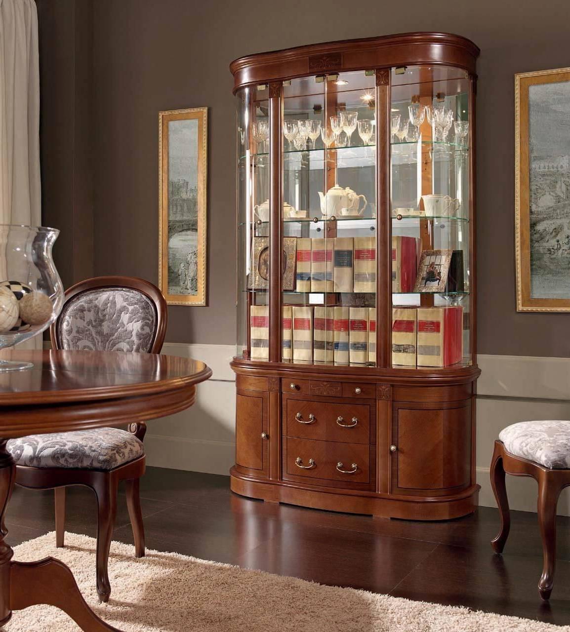 Сервант для посуды в гостиную, буфет в классическом стиле, сервант в гостиной в современном дизайне