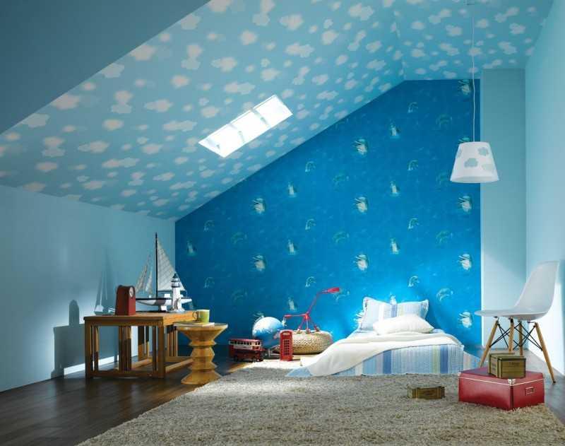 Потолок в голубом цвете: 70+ фото, примеры натяжных, глянцевых, бело-голубых и других вариантов